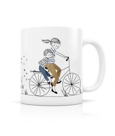 Mug en Céramique - Balade à vélo Mère Fils
