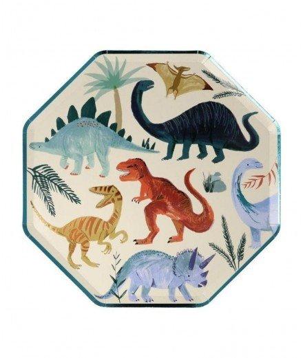 8 grandes assiettes en carton - Dinosaure (malo)
