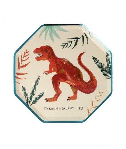 8 petites assiettes en carton - Dinosaure (malo)
