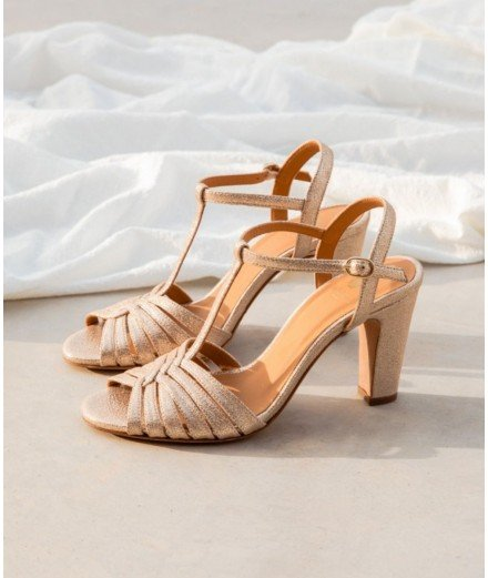 Sandale à Talon Daisy - Champagne Irisé (LMVANNES)