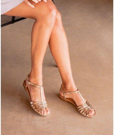 Sandales plates Gaby - Doré craquelé (LMVANNES)