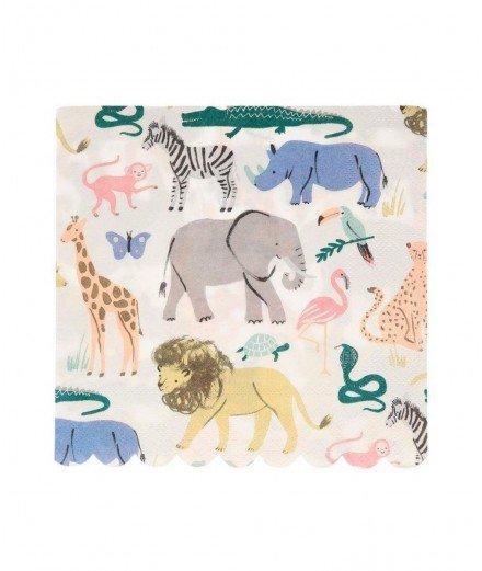 20 serviettes en papier - Animaux et Safari (malo)