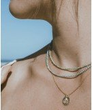 Collier doré à l'or fin - Médaillon et Turquoise