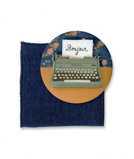 Miroir de poche et son pochon - Machine à écrire