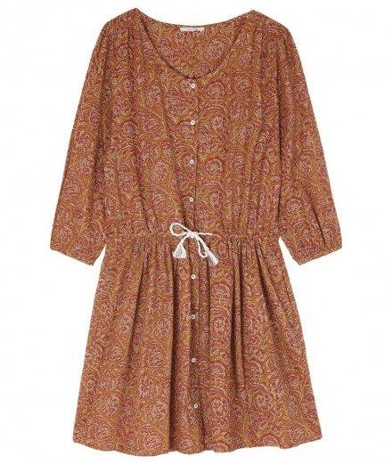Robe en coton imprimé Camélia - Caramel