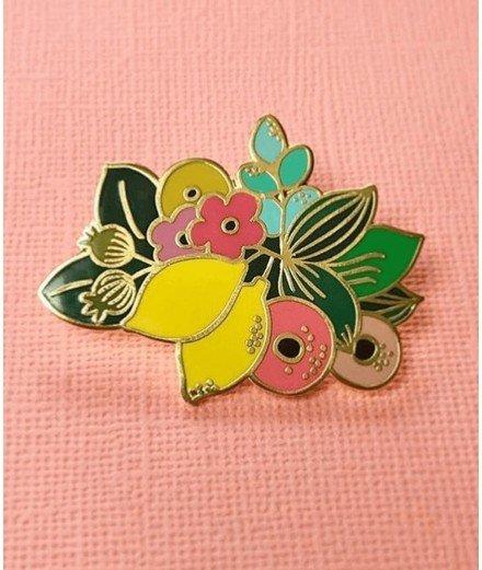 Pin's citrons et fleurs