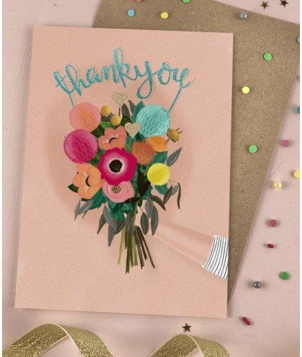 Carte de remerciement - Bouquets à paillettes