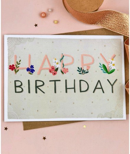 Carte d'anniversaire - Happy Birthday Floral