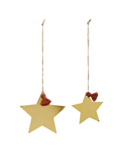 Set de 2 étoiles en laiton - pompon