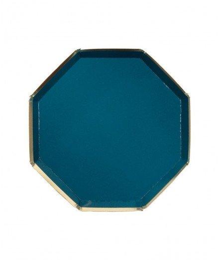 8 assiettes en carton hexagonales Bleu pétrole - Grandes