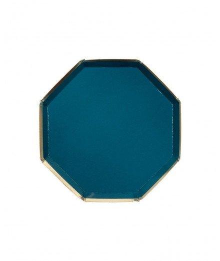 8 assiettes en carton hexagonales Bleu pétrole - Petites
