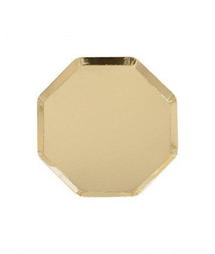 8 assiettes en carton hexagonales Dorées - Petites