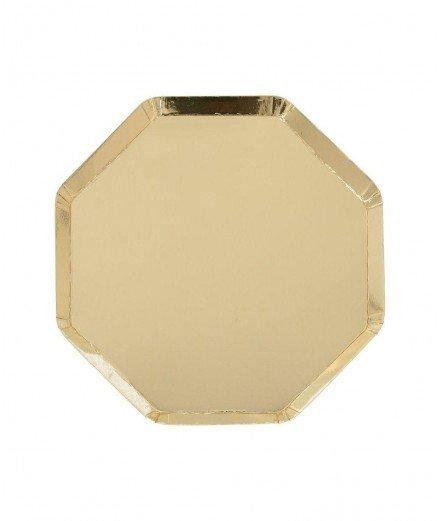 8 assiettes en carton hexagonales Dorées - Grandes