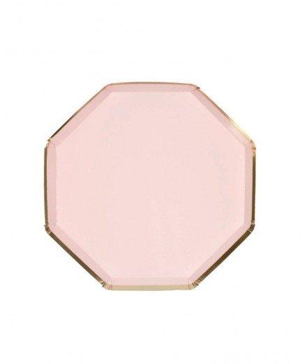 8 assiettes en carton hexagonales Rose - Petites