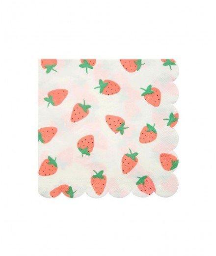16 serviettes en papier - Fraises
