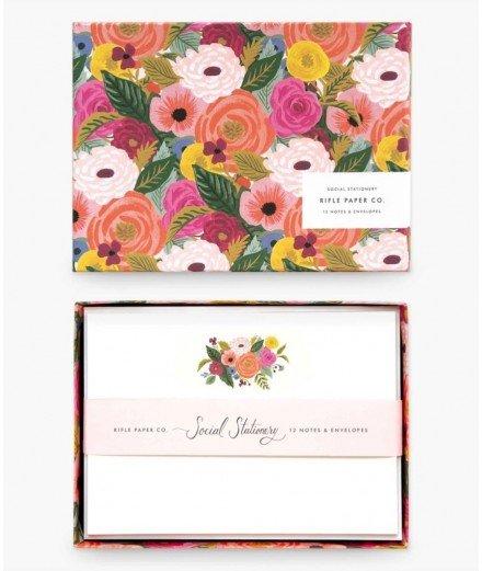 Coffret papeterie 12 cartes et enveloppes- juliet rose