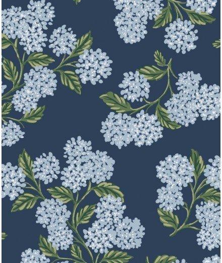 Papier peint Hydrangea navy - Hortensias