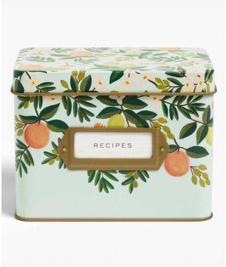 Boîte à recettes en métal - Citrus Floral