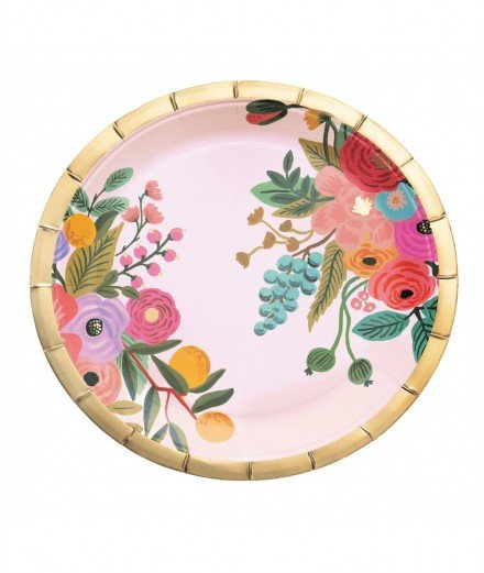 10 grandes assiettes en carton Fleurs roses