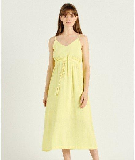 Robe longue en lin Malo - Jaune citron