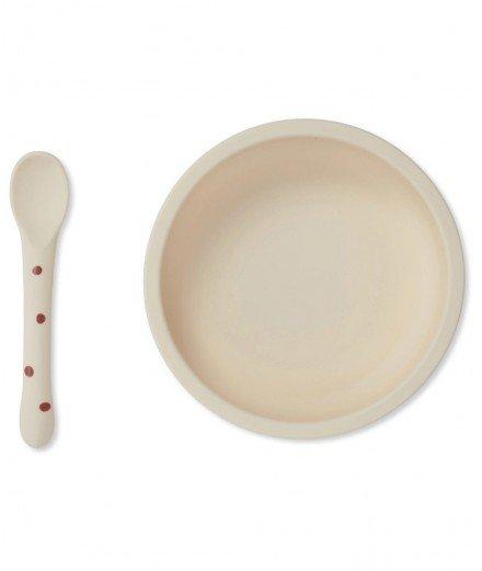 Assiette à ventouse et cuillère en silicone - Pois framboise