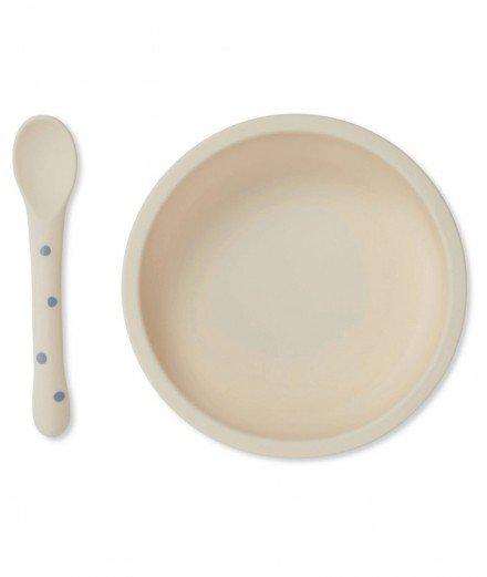 Assiette à ventouse et cuillère en silicone - Pois bleus
