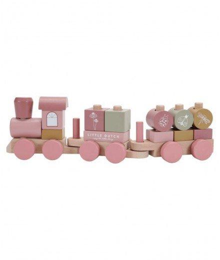 Trains à blocs en bois - Fleurs sauvages