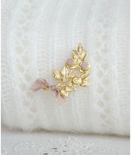 Broche branche de rosier - Cuir Rose