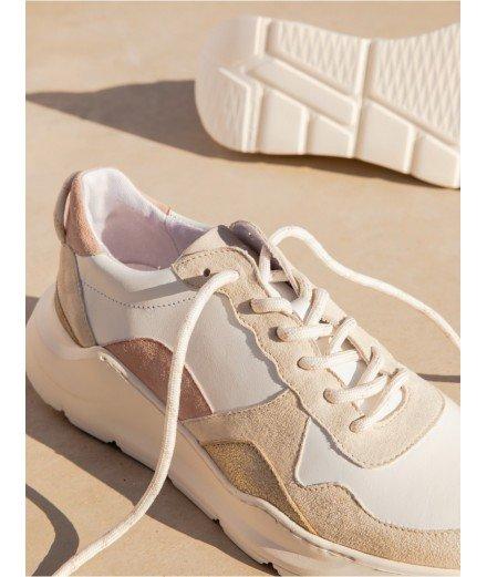 Sneakers en cuir - Tori - Blanc, Sorbet à la rose