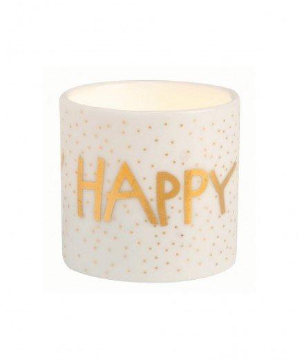 Petit photophore en porcelaine - Happy