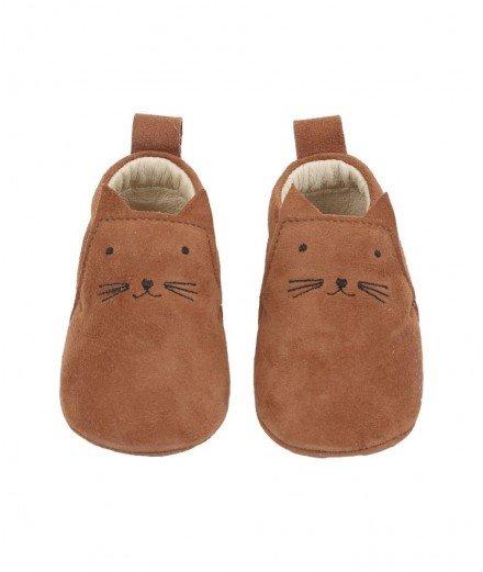 Chaussons pour bébé en cuir - chat - Camel