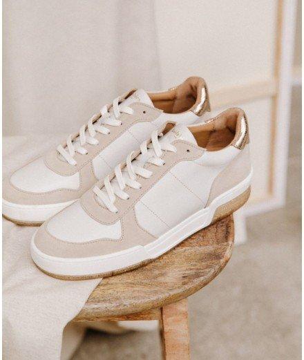 Sneakers La Longbeach - Blanc cassé, champagne irisé