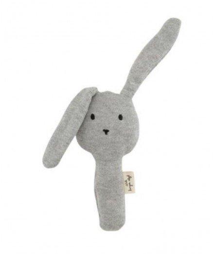 Hochet en coton biologique - lapin - Gris - konges slojd - jouet d'éveil - jouet sensoriel
