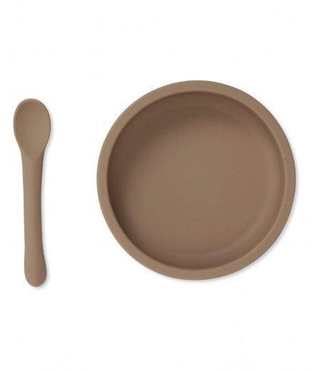Assiette à ventouse et cuillère en silicone - Bark