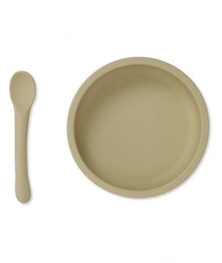 Assiette à ventouse et cuillère en silicone - Limonade - konges slojd - vaisselle bébé - vaisselle anti dérapante
