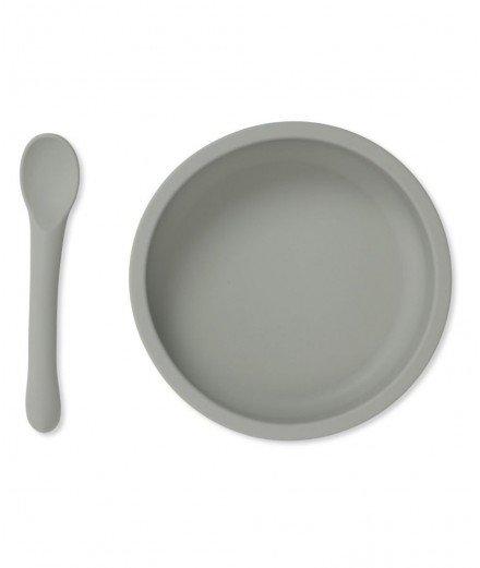 Assiette à ventouse et cuillère en silicone - Topanga beach - konges slojd - merci leonie