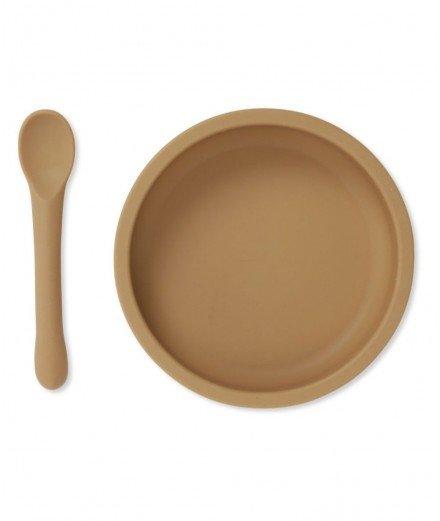 Assiette à ventouse et cuillère en silicone - Almond - konges slojd - merci leonie - cadeau de naissance