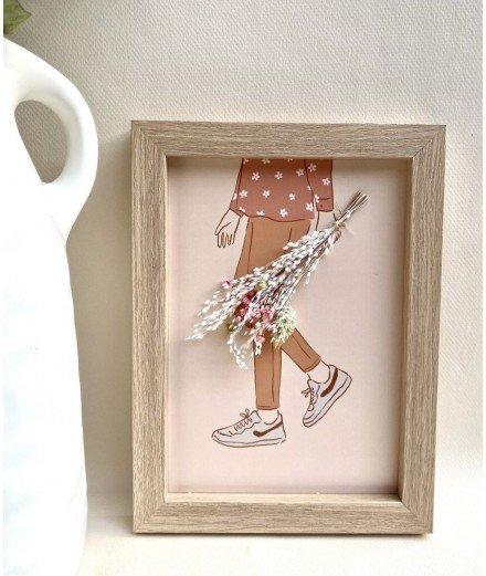 Cadre avec carte illustrée et fleurs séchées - Baskets - yuzu -fait main - fait en france - merci leonie