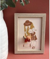 Cadre avec carte illustrée et fleurs séchées - Maman et sa fille