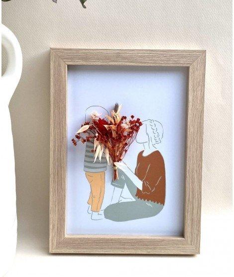Cadre avec carte illustrée et fleurs séchées - Garçon et Maman