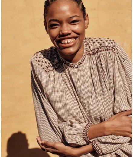 Blouse en coton bio Jeanne - Cream Check - LOUISE MISHA - MERCI LEONIE - BLOUSE AUTOMNE