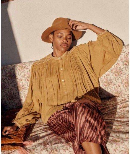 Blouse en coton bio Jeanne - Caramel - louise misha - merci leonie