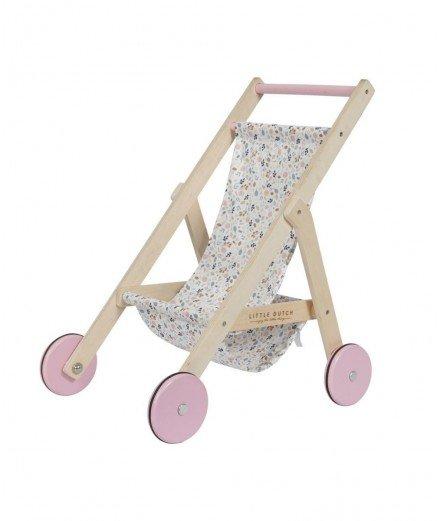 Poussette en bois pour poupée - Spring Flowers - little dutch -merci leonie - jouet d'imitation