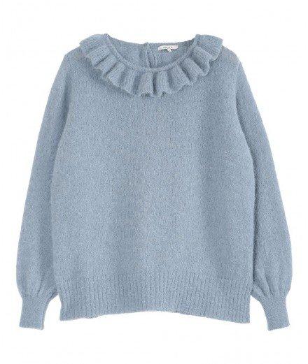 Pull en laine d'alpaga bleu - Lac