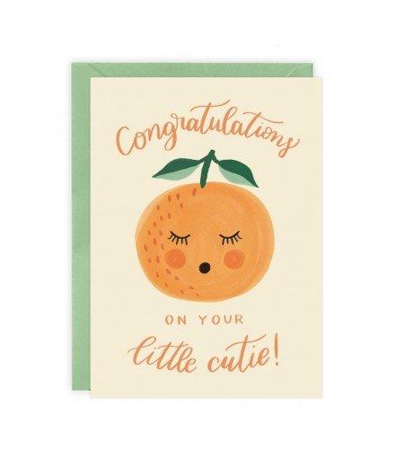 Carte de naissance Orange Little cutie