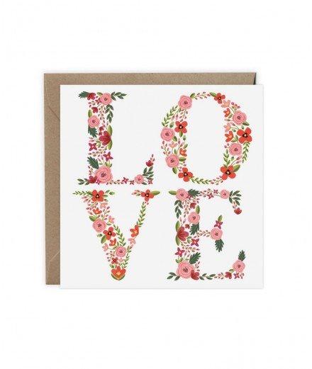 Faite votre déclaration d'amour avec cette carte carrée avec le message LOVE inscrit avec des fleurs !