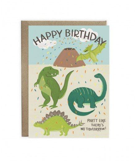 Carte d'anniversaire illustrées de différents dinosaures et d'un volcan. Parfaite pour l'anniversaire d'un petit garçon fan de d