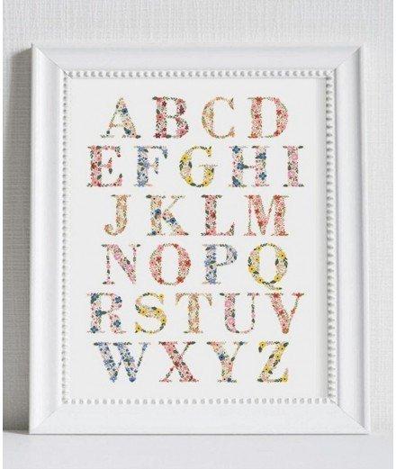 Affiche Alphabet - Fleurs
