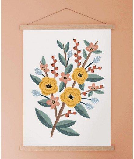Affiche représentant un joli bouquet de fleurs dans les teintes jaunes, rouges et bleues. Idéale pour une touche rétro dans votr