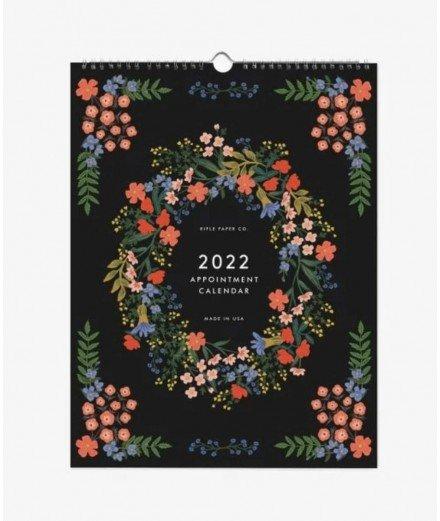 Calendrier mural 2022 Luxembourg de la marque Rifle Paper Co. Chaque mois découvrez une nouvelle illustration fleurie.